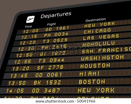 Departure board - destination airports. Vector illustration - the letters and numbers for easy editing your own messages are embedded outside the viewing area. USA destinations.