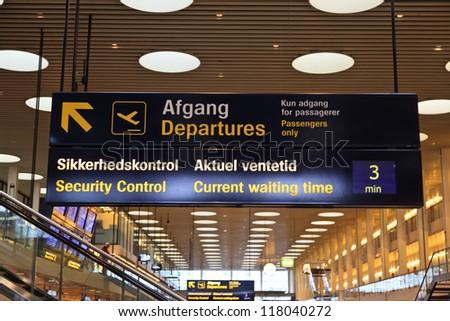 Departure board in Airport of Copenhagen