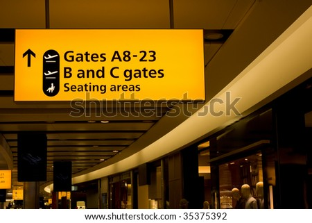Departure hall of Heathrow International airport, London - stock photo