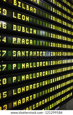 Departure schedule at an airport in Spain. Flights to Bilbao, Leon, Dublin, Prague, Santander, Mallorca, London and Madrid.