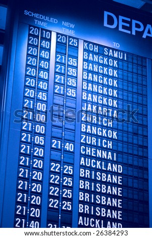Departure schedule board in asian airport
