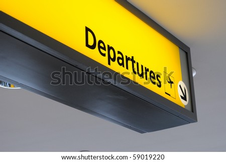 Departure sign at an airport.