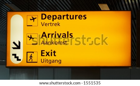 Departure sign at the airport