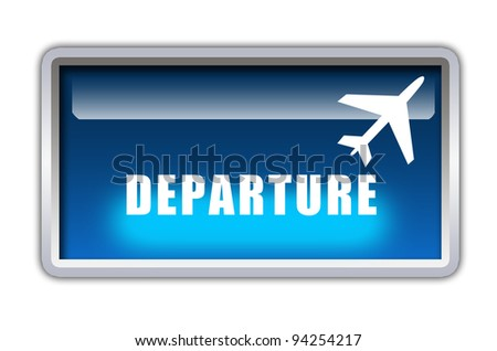departure word with flight icon on blue glossy frame graphic