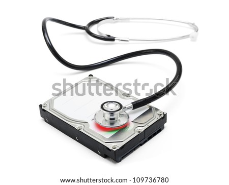 Depiction of computer repairs and digital data recovery with a stethoscope scanning for lost information on a hard drive disc isolated on white background