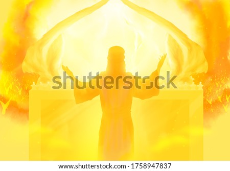 Depiction of Jesus the Intercessor, the Son of man and High Priest, ministering in the heavenly sanctuary according to Hebrews, New Testament religious illustration imagery. Ark of the covenant. Stockfoto ©
