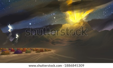Depiction of the Israel camp at Sinai, Exodus Old Testament Bible story religious illustration 3d rendering