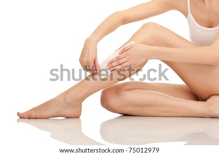 depilation female legs with waxing, isolated on white background