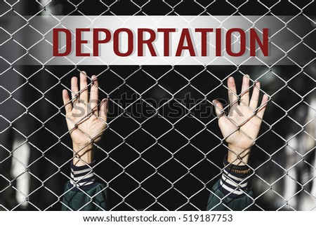 Shutterstock Deportation text of women and fence. Refugee concept