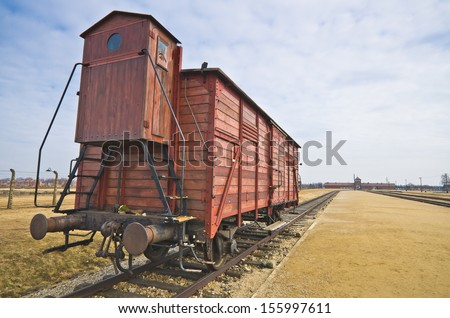 Deportation wagon at Auschwitz Birkenau at concentration camp, Poland