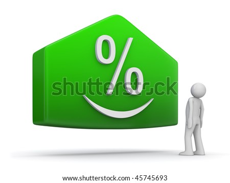 Deposit/profit growth (3d isolated character, green plate, arrow, smiling percentage sign)