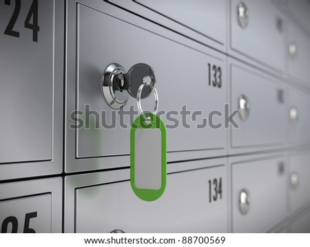 Deposit safe bank and key to the safe