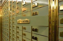 Depot at a vault room in a bank, close up look