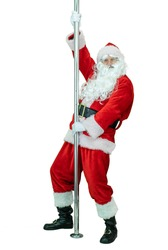 Depraved Santa is pole dancer, dancing with pylon. Lustful Santa Claus dances with pole on white background. Christmas coming
