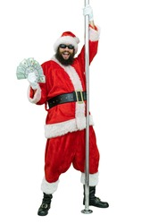 Depraved Santa is pole dancer, holds fan of dollars money. Lustful arabic young Santa Claus with black beard dances with pole on white background