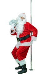Depraved Santa pole dancer, holds fan of dollars money notes. Lustful Santa Claus dances with pole on white background. Christmas coming