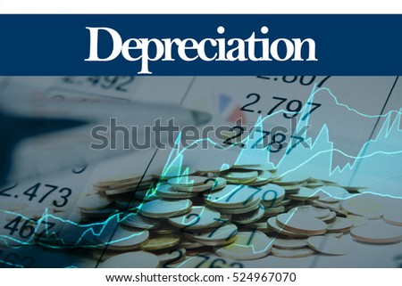 Depreciation - Abstract digital information to represent Business&Financial as concept. The word Depreciation is a part of stock market vocabulary in stock photo