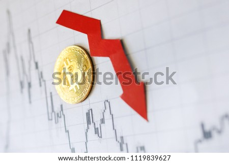 Depreciation of virtual money bitcoin. Exchange rate depreciation. Red arrow and golden Bitcoin ladder on paper forex chart background. Concept of depreciation of cryptocurrency. Bitcoin index rating
