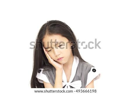 Depressed Asian girl isolated over white background #493666198