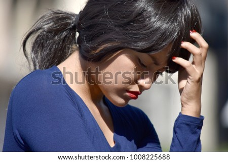 Depressed Attractive Female Woman Wearing A Wig #1008225688