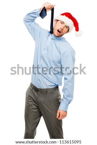 Depressed businessman not excited about Christmas portrait isolated on white background