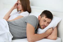 Depressed couple after quarrel