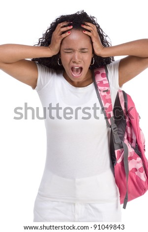 depressed ethnic African-American black young woman with backpack holding head