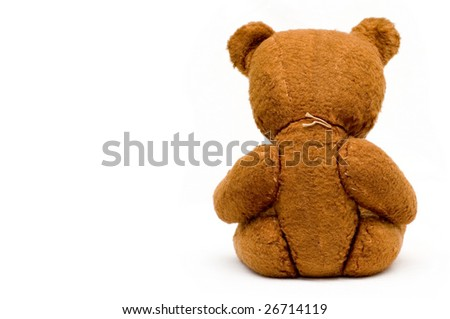 Depressed lonely old teddy isolated