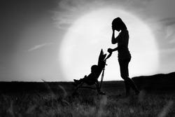 Depressed sad loney woman. Mother suffering from postpardum depression