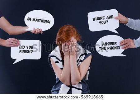Depressed woman and word balloons with short orders
