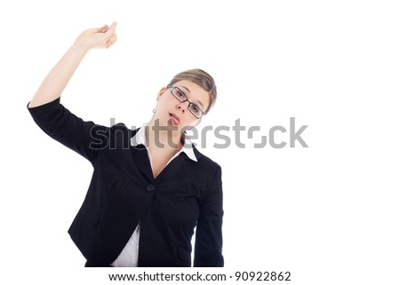 Depressed woman gesturing hanging herself suicide, isolated on white background.