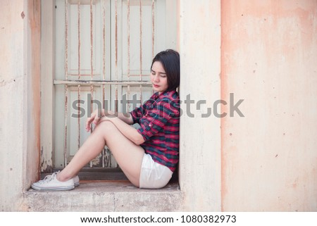 Young Hipster Woman Sad Vintage Tone 1080382973