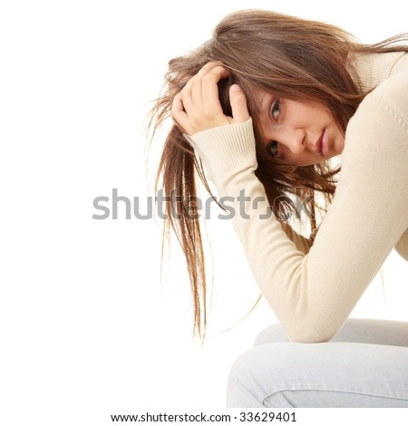 Depression anxiety coused by loneliness on isolation quarantine during coronavirus lockdown. Lonely young woman in depression and stress, negative emotions and mental health concept. Сток-фото ©