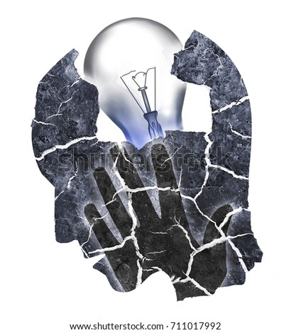 Depression Burnout Syndrome. Man holding his head.Photo-montage with Dry cracked earth and light bulb symbolizing Depression, Headache, dementia.