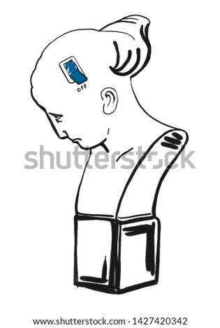 Depression. Conceptual press illustration of major depressive disorder. Visual metaphor shows woman with depression mood and weakness. Minimalist style.
