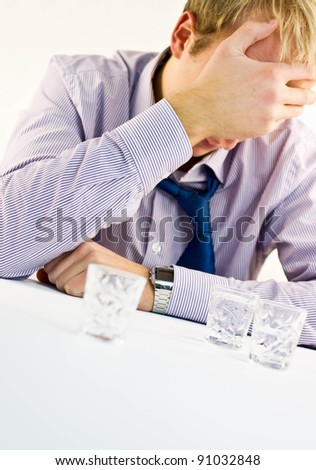 Depressive Drunk Businessman