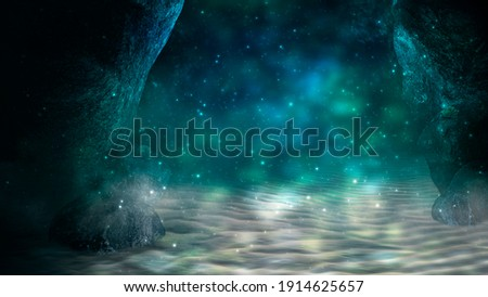Depth of sea water, the bottom of the sea, the rays of the sun through the water, the underwater world, dark sea the background. Rocks and stones under water. Sea sand. 3d illustration