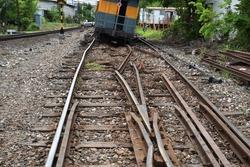 Derail train bogey with crash ruin rail