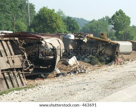 derailed train cars