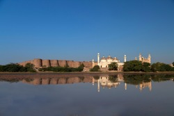 Derawar Fort, is a large square fortress in Ahmadpur East Tehsil, Punjab, Pakistan. Approximately 130 km south of the city of Bahawalpur, the forty bastions of Derawar are visible for many miles