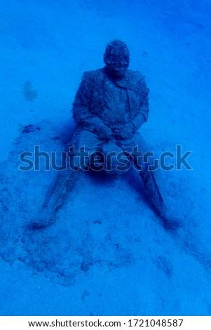 Deregulated. Businessman Mans in Sewing. Museo Atlantic, Lanzarote, Islas Canarias Foto stock ©