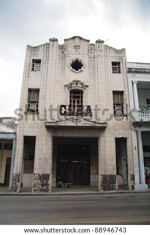"""Derelict Art Deco cinema in Havana, """"Cuba"""""""