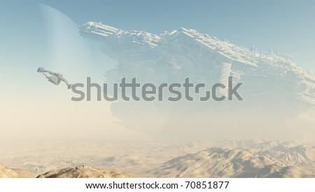 Derelict giant spaceship crashed on a desert planet, 3d digitally rendered illustration