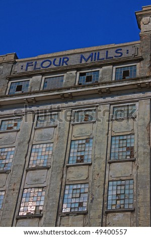 Derelict large flour mill at Avonmouth UK