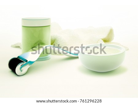 Derma roller for medical micro needling therapy with  glass vial and towel isolated on light background. 3D illustration