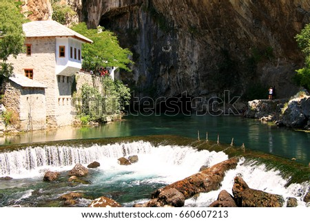 Dervish house in old town Blagaj near the Mostar , Bosnia and Herzegovina #660607213