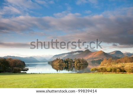 Derwent Waterand and Skiddaw mountain in background, Lake District National Park, Cumbria, England.