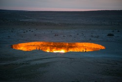 Derweze Gas Crater known as 'The Door to Hell in the ealy morning,Turkmenistan
