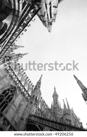 desaturated photo of duomo cathedral on milan, italy