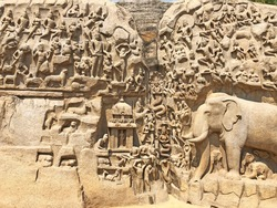 Descent of the Ganges: A giant open-air  bas relief rock cut sculptures carved on two monolithic rocks at Mabalipuram, Tamil nadu, India